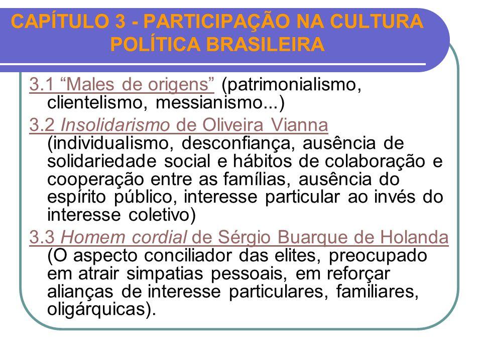 CAPÍTULO 3 - PARTICIPAÇÃO NA CULTURA POLÍTICA BRASILEIRA 3.1 Males de origens3.1 Males de origens (patrimonialismo, clientelismo, messianismo...) 3.2