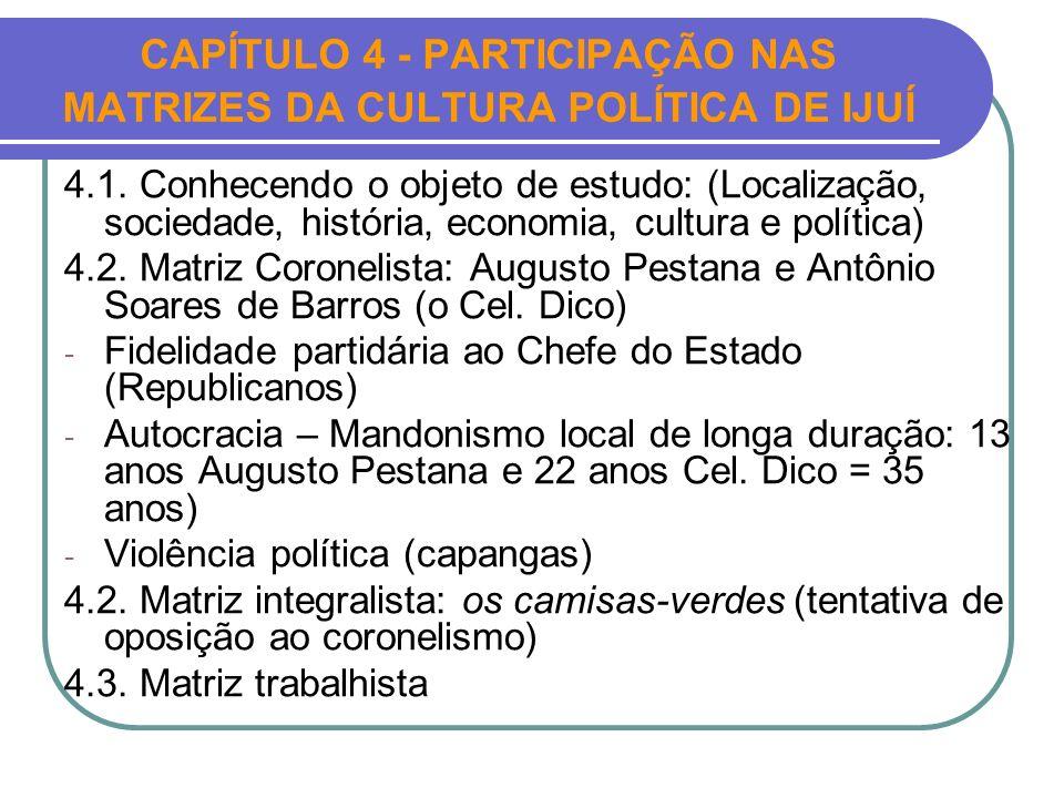 CAPÍTULO 4 - PARTICIPAÇÃO NAS MATRIZES DA CULTURA POLÍTICA DE IJUÍ 4.1. Conhecendo o objeto de estudo: (Localização, sociedade, história, economia, cu