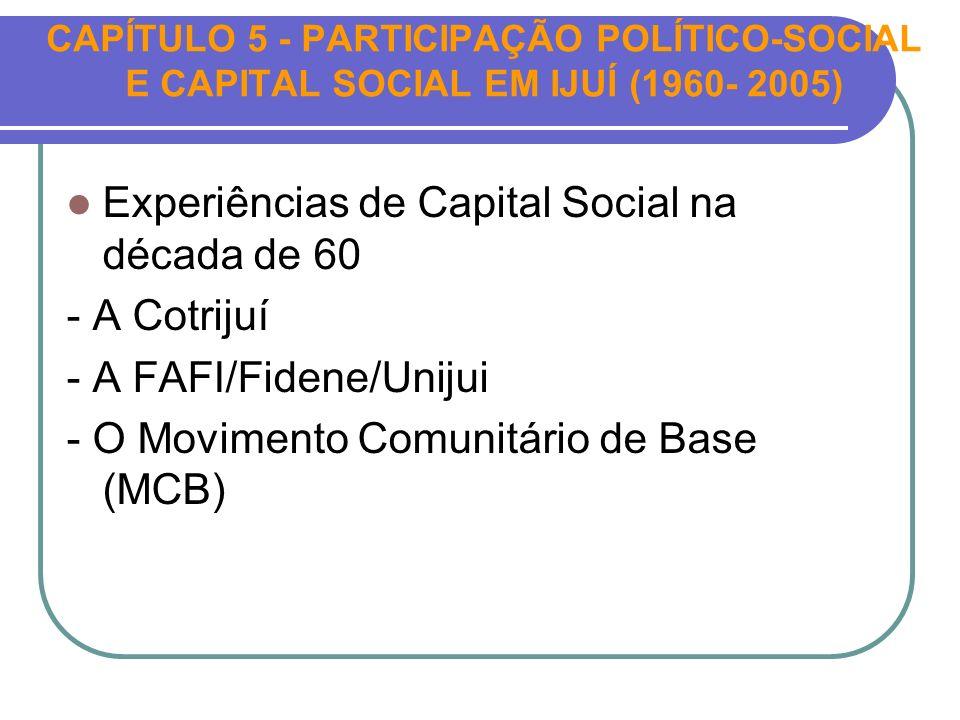 CAPÍTULO 5 - PARTICIPAÇÃO POLÍTICO-SOCIAL E CAPITAL SOCIAL EM IJUÍ (1960- 2005) Experiências de Capital Social na década de 60 - A Cotrijuí - A FAFI/F