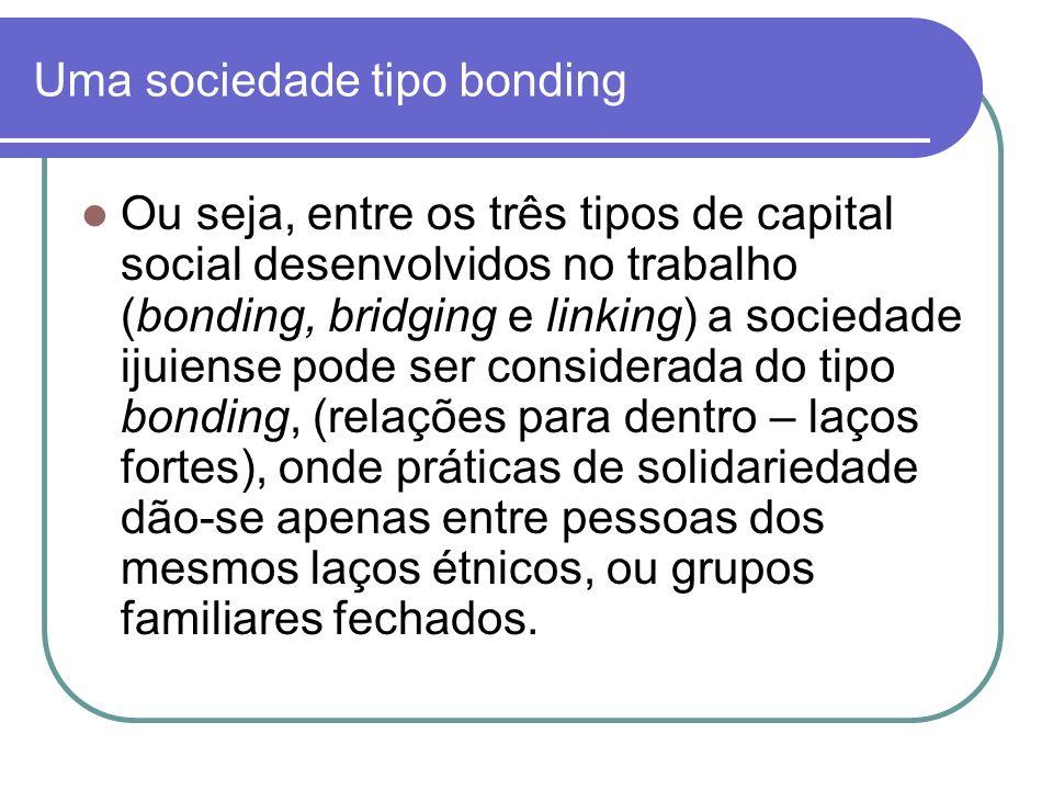 Uma sociedade tipo bonding Ou seja, entre os três tipos de capital social desenvolvidos no trabalho (bonding, bridging e linking) a sociedade ijuiense
