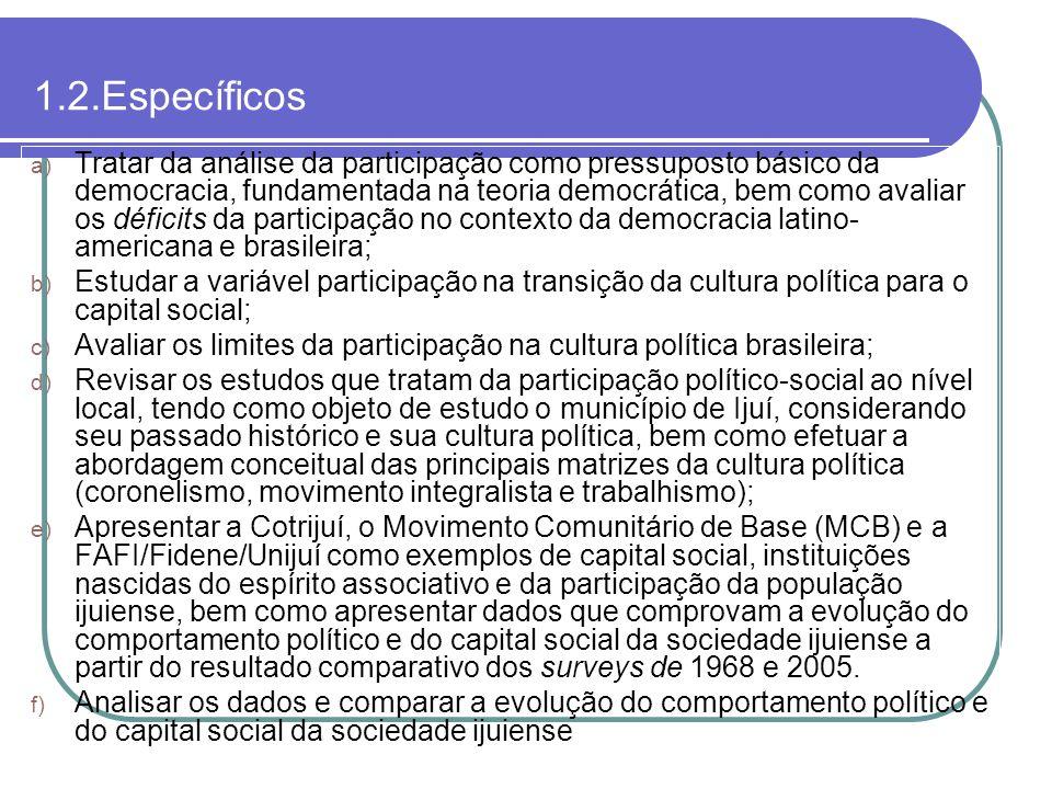 1.2.Específicos a) Tratar da análise da participação como pressuposto básico da democracia, fundamentada na teoria democrática, bem como avaliar os dé