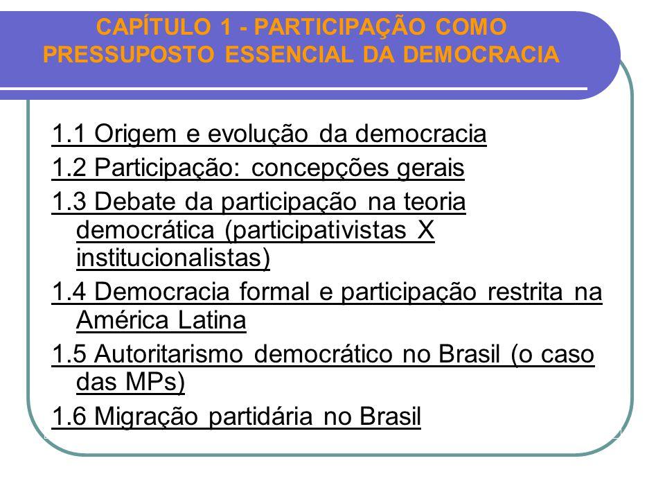 CAPÍTULO 1 - PARTICIPAÇÃO COMO PRESSUPOSTO ESSENCIAL DA DEMOCRACIA 1.1 Origem e evolução da democracia 1.2 Participação: concepções gerais 1.3 Debate