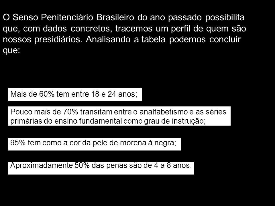 O Senso Penitenciário Brasileiro do ano passado possibilita que, com dados concretos, tracemos um perfil de quem são nossos presidiários. Analisando a