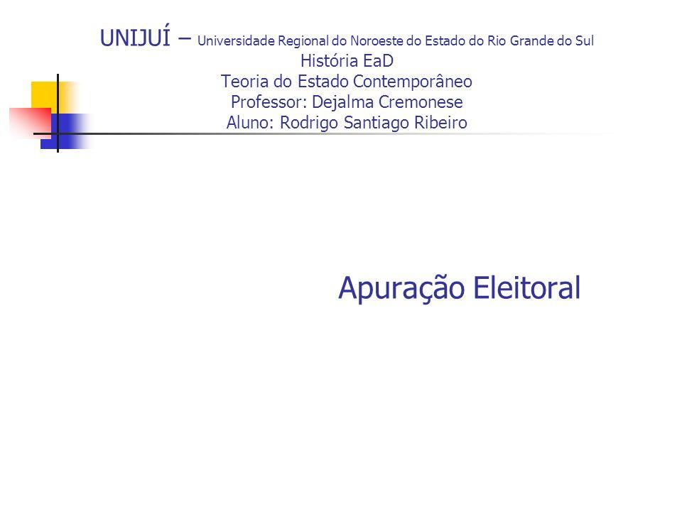 UNIJUÍ – Universidade Regional do Noroeste do Estado do Rio Grande do Sul História EaD Teoria do Estado Contemporâneo Professor: Dejalma Cremonese Alu