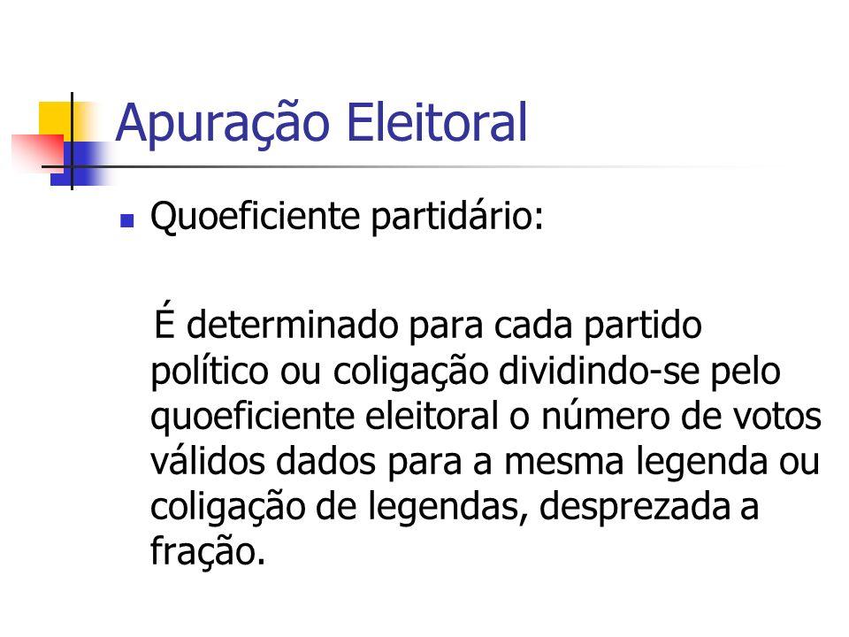 Apuração Eleitoral Quoeficiente partidário: É determinado para cada partido político ou coligação dividindo-se pelo quoeficiente eleitoral o número de
