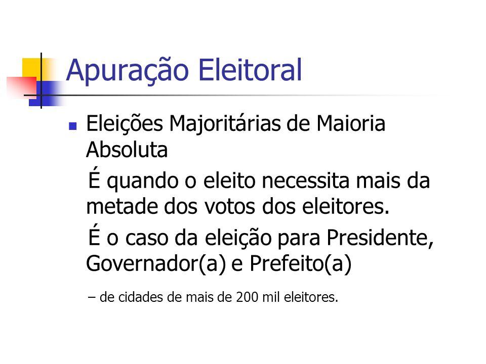 Apuração Eleitoral Eleições Majoritárias de Maioria Absoluta É quando o eleito necessita mais da metade dos votos dos eleitores. É o caso da eleição p