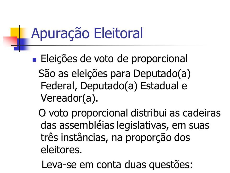 Apuração Eleitoral Eleições de voto de proporcional São as eleições para Deputado(a) Federal, Deputado(a) Estadual e Vereador(a). O voto proporcional