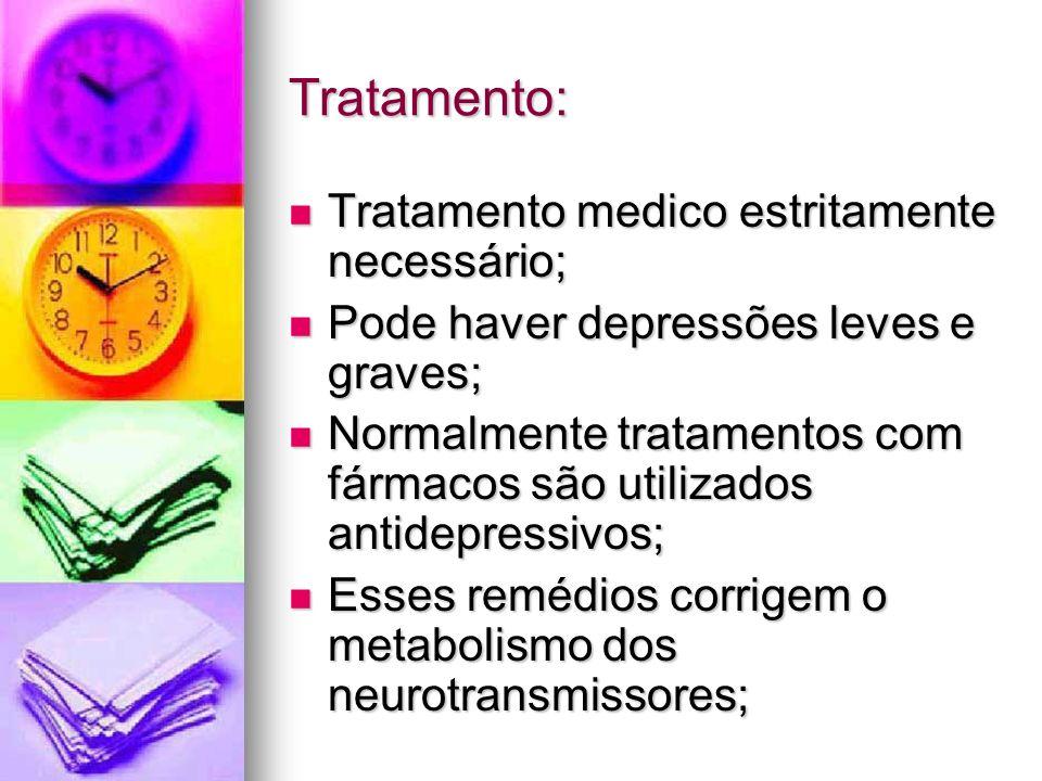 Tratamento: Tratamento medico estritamente necessário; Tratamento medico estritamente necessário; Pode haver depressões leves e graves; Pode haver dep