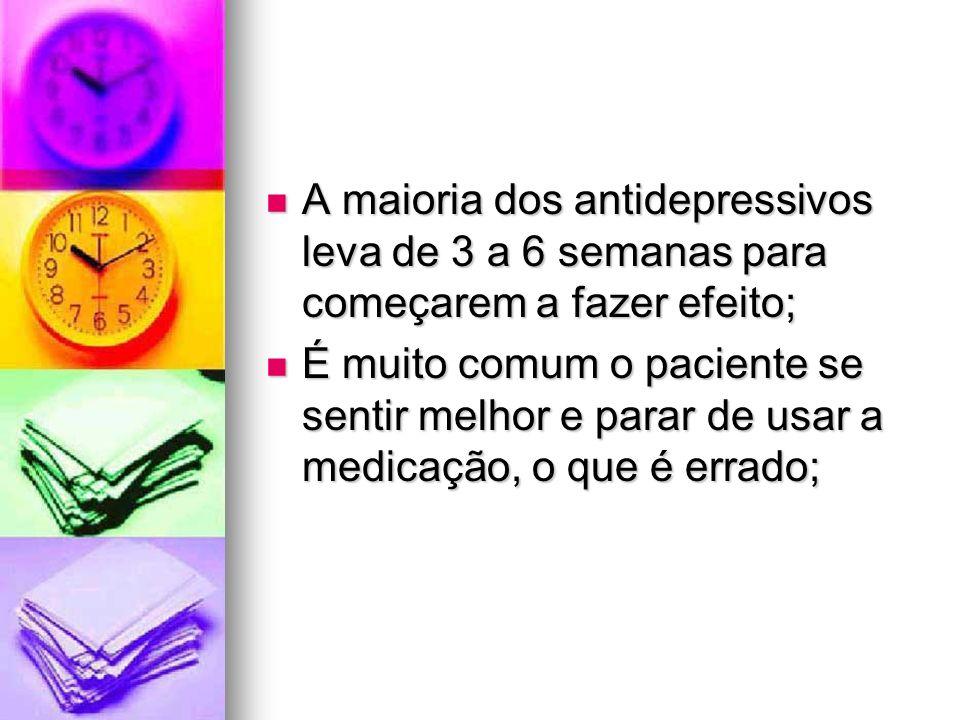 A maioria dos antidepressivos leva de 3 a 6 semanas para começarem a fazer efeito; A maioria dos antidepressivos leva de 3 a 6 semanas para começarem
