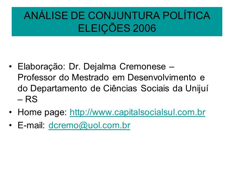 ANÁLISE DE CONJUNTURA POLÍTICA ELEIÇÕES 2006 Elaboração: Dr. Dejalma Cremonese – Professor do Mestrado em Desenvolvimento e do Departamento de Ciência