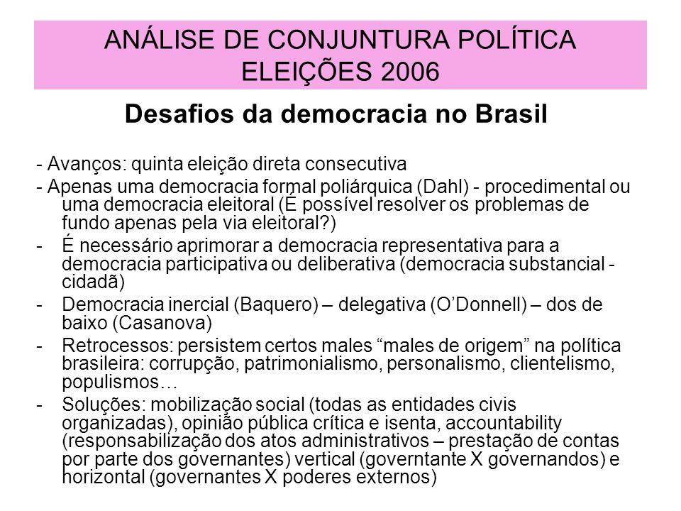 ANÁLISE DE CONJUNTURA POLÍTICA ELEIÇÕES 2006 Desafios da democracia no Brasil - Avanços: quinta eleição direta consecutiva - Apenas uma democracia for