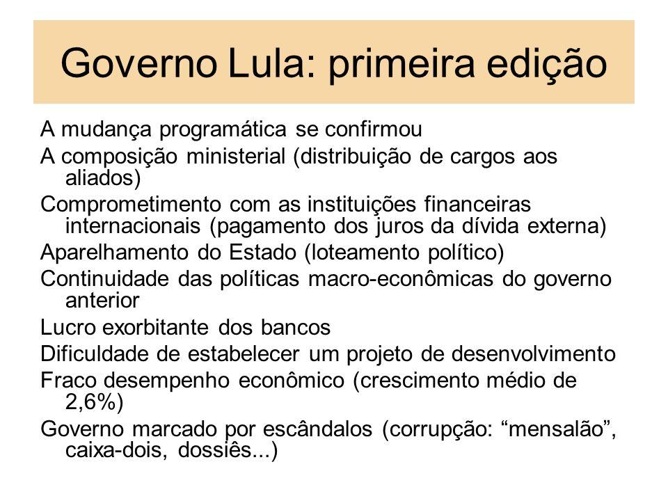 Governo Lula: primeira edição A mudança programática se confirmou A composição ministerial (distribuição de cargos aos aliados) Comprometimento com as
