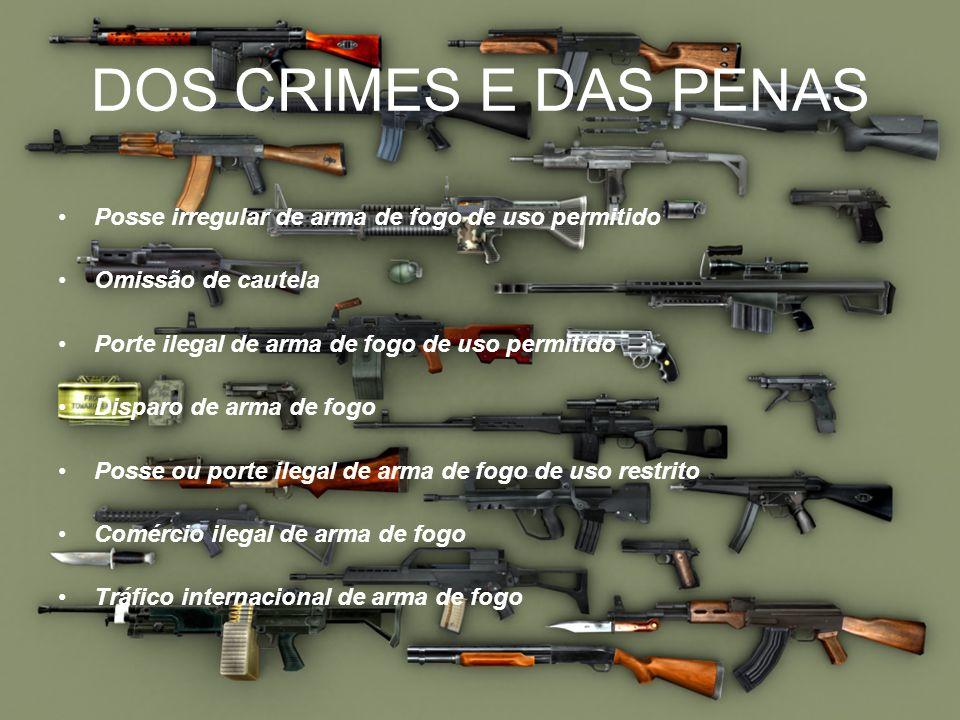 DOS CRIMES E DAS PENAS Posse irregular de arma de fogo de uso permitido Omissão de cautela Porte ilegal de arma de fogo de uso permitido Disparo de ar