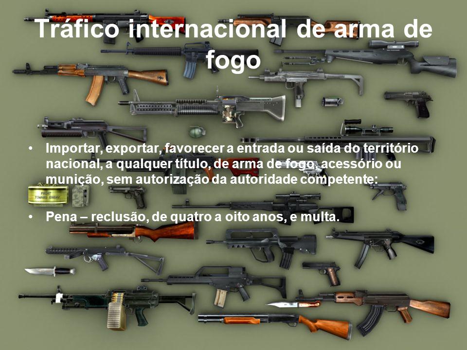 Tráfico internacional de arma de fogo Importar, exportar, favorecer a entrada ou saída do território nacional, a qualquer título, de arma de fogo, ace