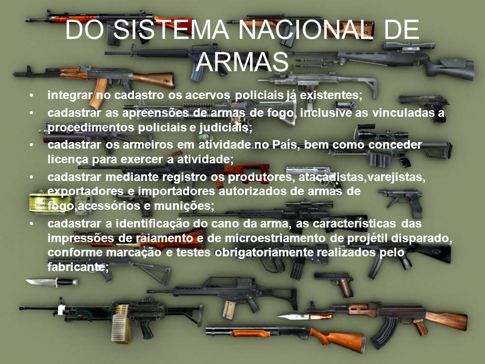 DO SISTEMA NACIONAL DE ARMAS integrar no cadastro os acervos policiais já existentes; cadastrar as apreensões de armas de fogo, inclusive as vinculada