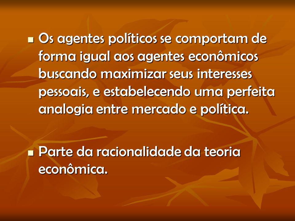 Os agentes políticos se comportam de forma igual aos agentes econômicos buscando maximizar seus interesses pessoais, e estabelecendo uma perfeita analogia entre mercado e política.
