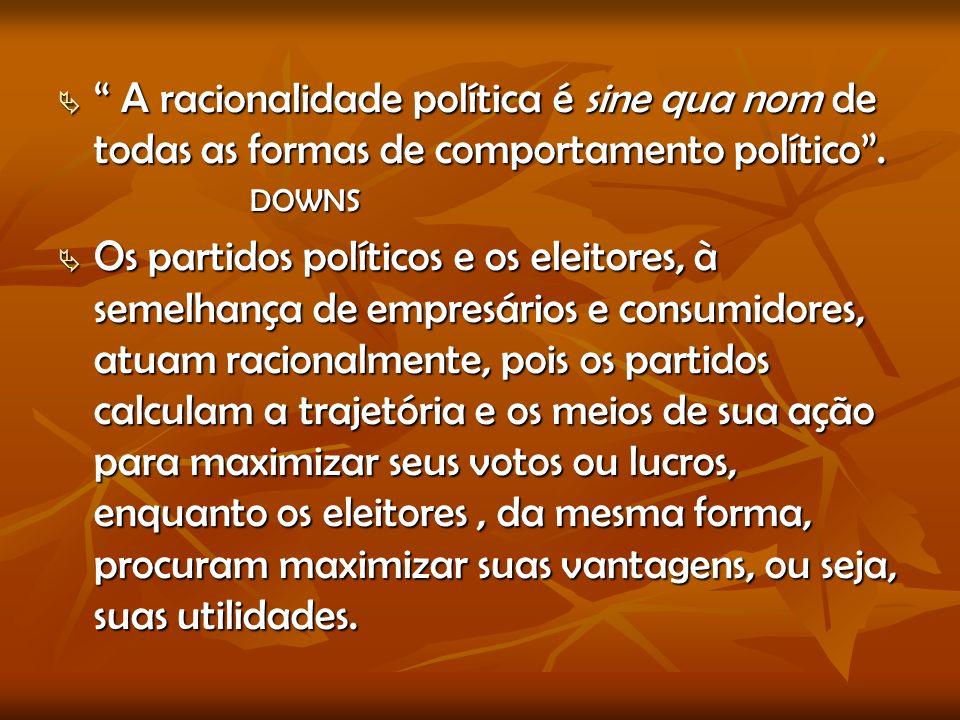 A racionalidade política é sine qua nom de todas as formas de comportamento político.
