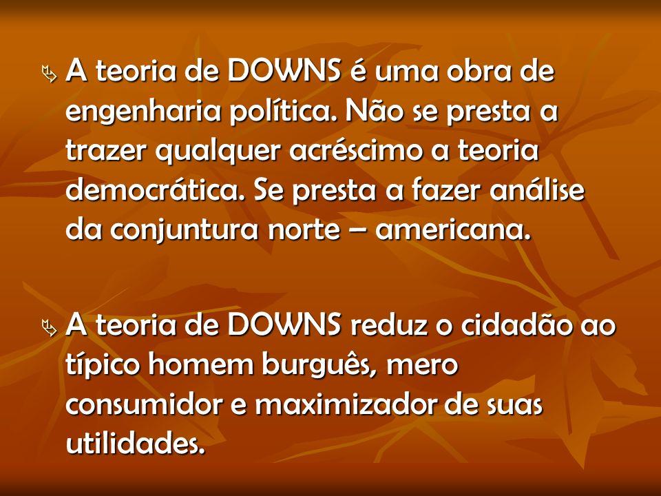 A teoria de DOWNS é uma obra de engenharia política.