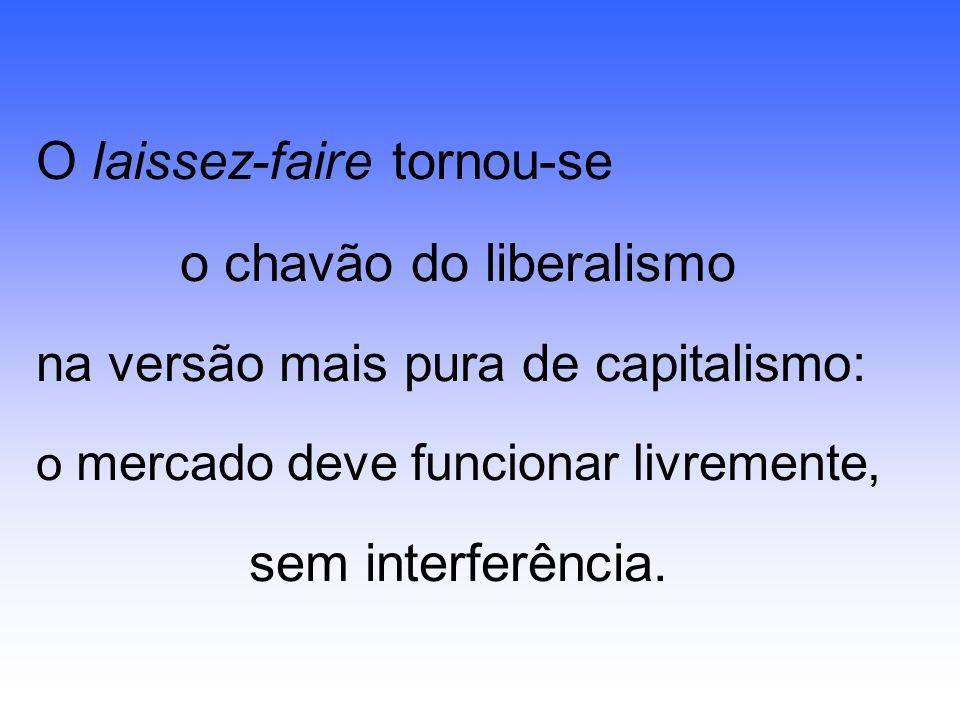 O laissez-faire tornou-se o chavão do liberalismo na versão mais pura de capitalismo: o mercado deve funcionar livremente, sem interferência.