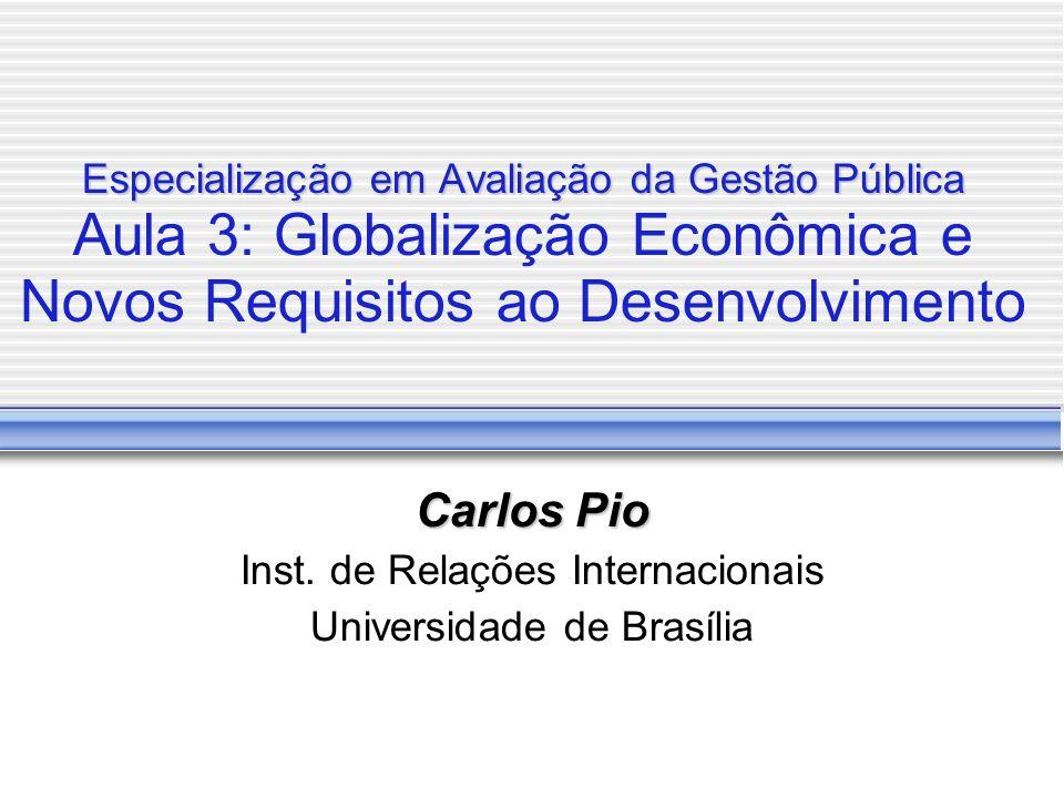 Especialização em Avaliação da Gestão Pública Especialização em Avaliação da Gestão Pública Aula 3: Globalização Econômica e Novos Requisitos ao Desen