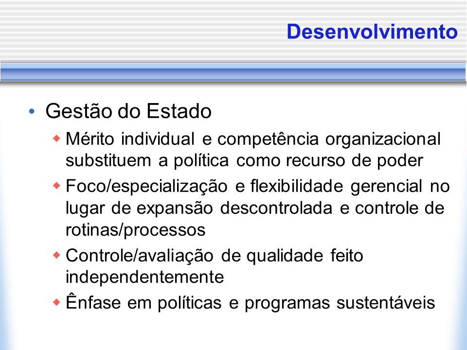 Desenvolvimento Gestão do Estado Mérito individual e competência organizacional substituem a política como recurso de poder Foco/especialização e flex