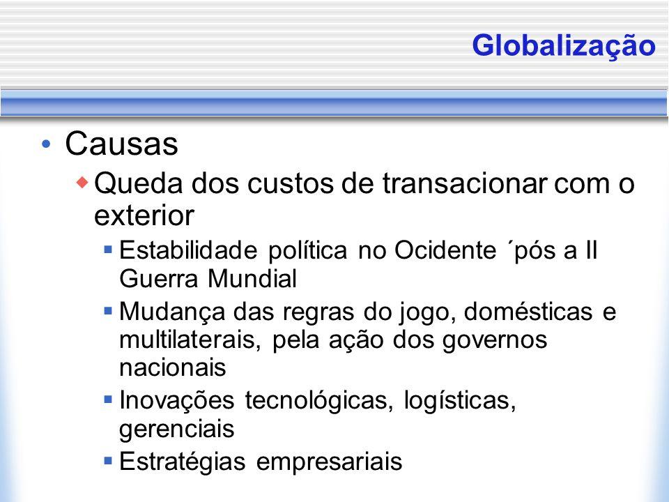 Globalização Causas Queda dos custos de transacionar com o exterior Estabilidade política no Ocidente ´pós a II Guerra Mundial Mudança das regras do j
