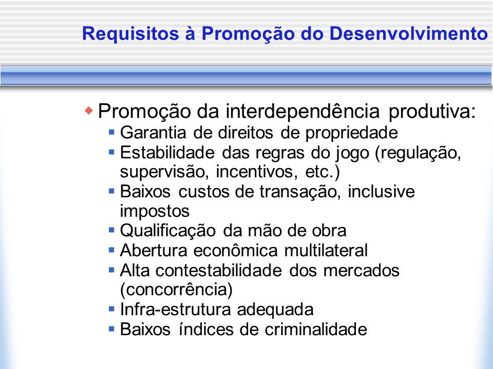 Requisitos à Promoção do Desenvolvimento Promoção da interdependência produtiva: Garantia de direitos de propriedade Estabilidade das regras do jogo (