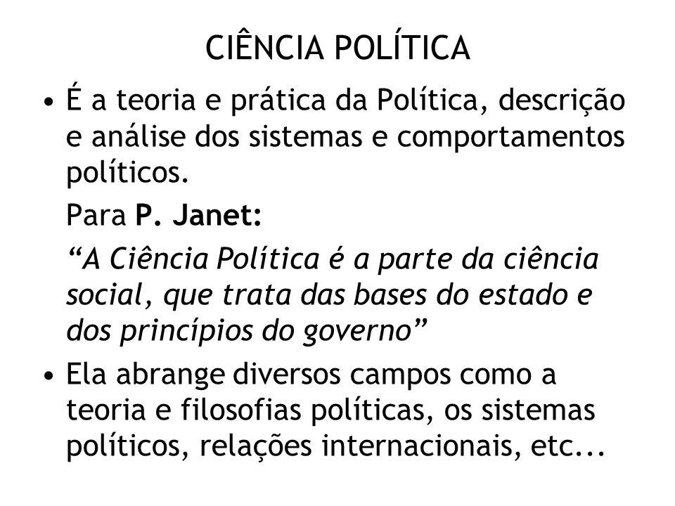 CIÊNCIA POLÍTICA É a teoria e prática da Política, descrição e análise dos sistemas e comportamentos políticos. Para P. Janet: A Ciência Política é a