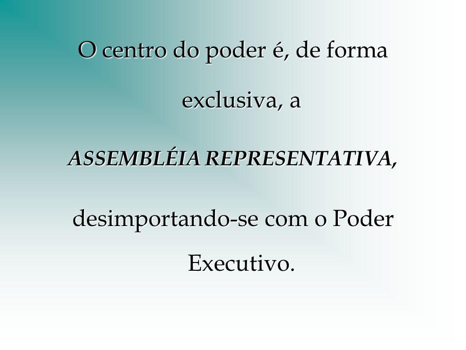 O centro do poder é, de forma exclusiva, a ASSEMBLÉIA REPRESENTATIVA, desimportando-se com o Poder Executivo.