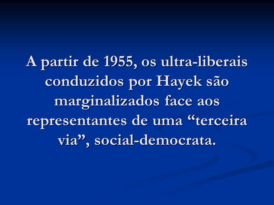 A partir de 1955, os ultra-liberais conduzidos por Hayek são marginalizados face aos representantes de uma terceira via, social-democrata.