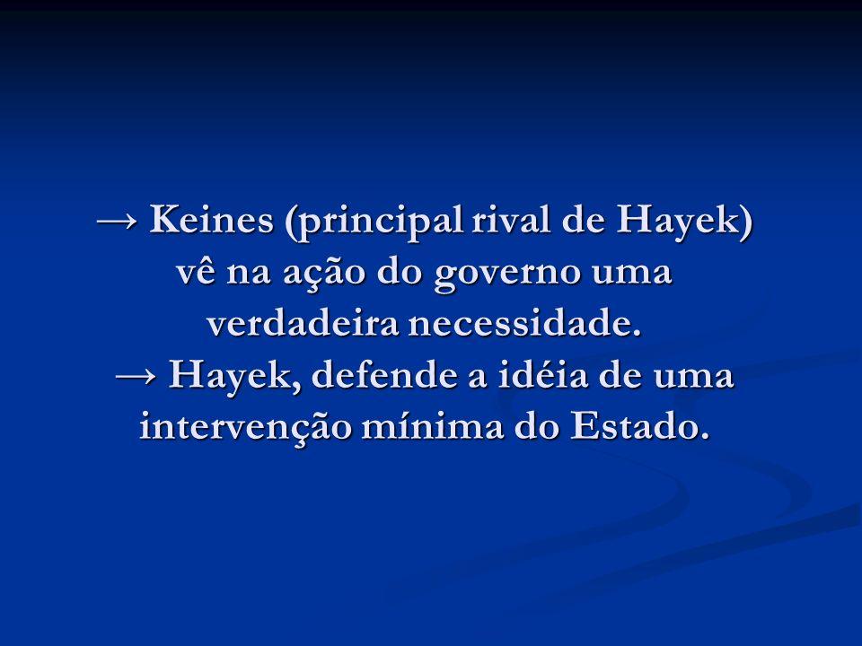 Keines (principal rival de Hayek) vê na ação do governo uma verdadeira necessidade. Hayek, defende a idéia de uma intervenção mínima do Estado. Keines