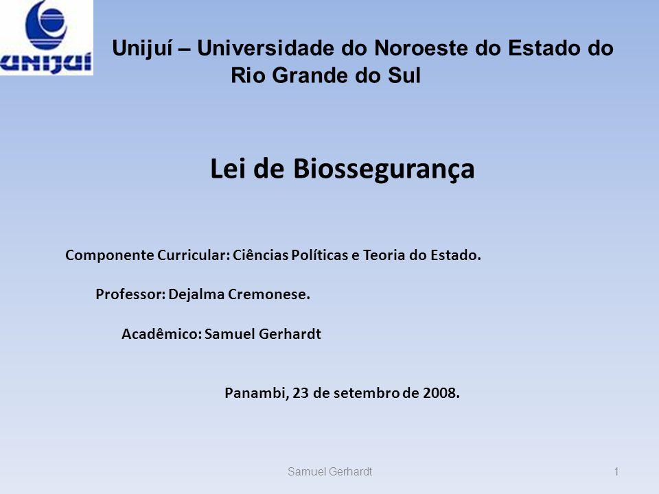 Sites pesquisados: http://www.planalto.gov.br/ccivil03/Ato2 004-2006/2005/lei/L11105.htm http://www.planalto.gov.br/ccivil_03/_At o2004-2006/2005/Decreto/D5591.htm http://veja.abril.com.br/idade/exclusivo/ biosseguranca/index.shtml http://www.fiocruz.br/biosseguranca/ctb io/docs/Lei-11105.pdf http://images.google.com.br/imghp?um= 1&ie=UTF-8&sa=N&tab=wi http://www.planalto.gov.br/ccivil03/Ato2 004-2006/2005/lei/L11105.htm http://veja.abril.com.br/idade/exclusivo/ biosseguranca/index.shtml http://www.fiocruz.br/biosseguranca/ctb io/docs/Lei-11105.pdf Samuel Gerhardt32