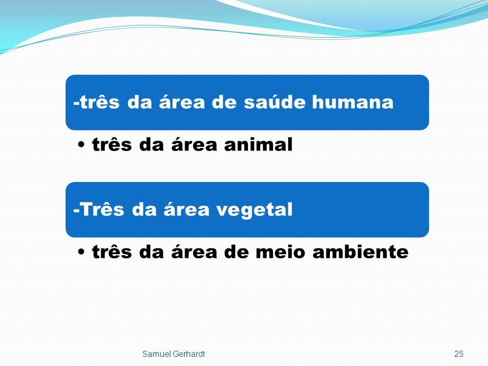 -três da área de saúde humana três da área animal -Três da área vegetal três da área de meio ambiente Samuel Gerhardt25