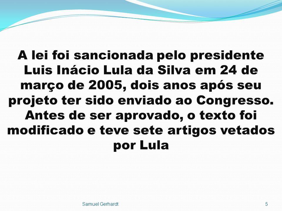 A lei foi sancionada pelo presidente Luis Inácio Lula da Silva em 24 de março de 2005, dois anos após seu projeto ter sido enviado ao Congresso. Antes