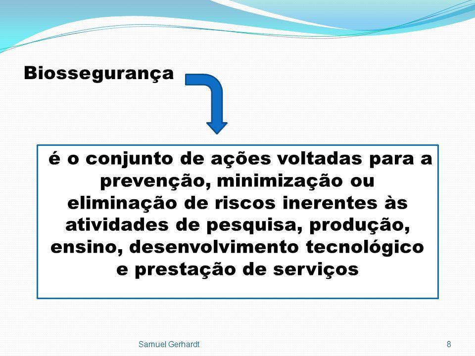 Biossegurança Samuel Gerhardt8 é o conjunto de ações voltadas para a prevenção, minimização ou eliminação de riscos inerentes às atividades de pesquis
