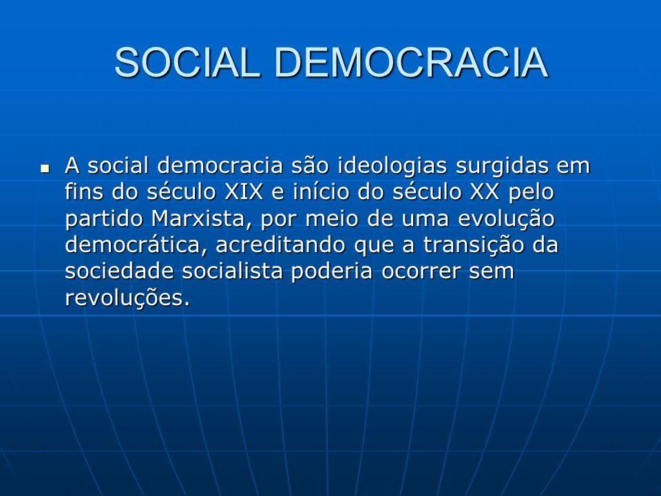 SOCIAL DEMOCRACIA A social democracia são ideologias surgidas em fins do século XIX e início do século XX pelo partido Marxista, por meio de uma evolu