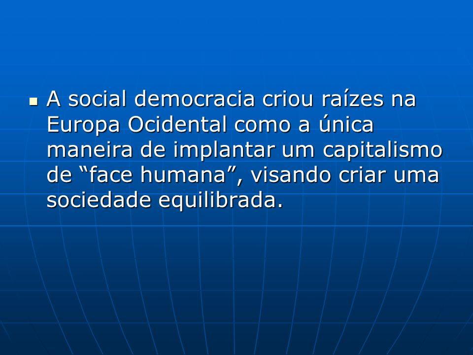 A social democracia criou raízes na Europa Ocidental como a única maneira de implantar um capitalismo de face humana, visando criar uma sociedade equi