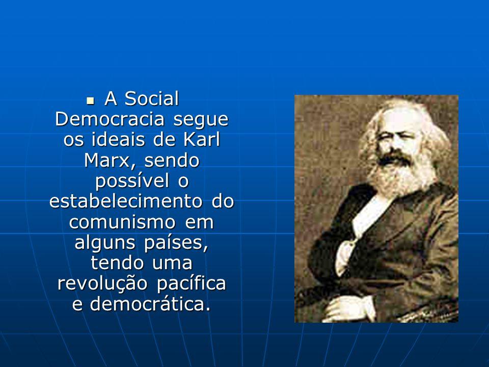 A Social Democracia segue os ideais de Karl Marx, sendo possível o estabelecimento do comunismo em alguns países, tendo uma revolução pacífica e democ
