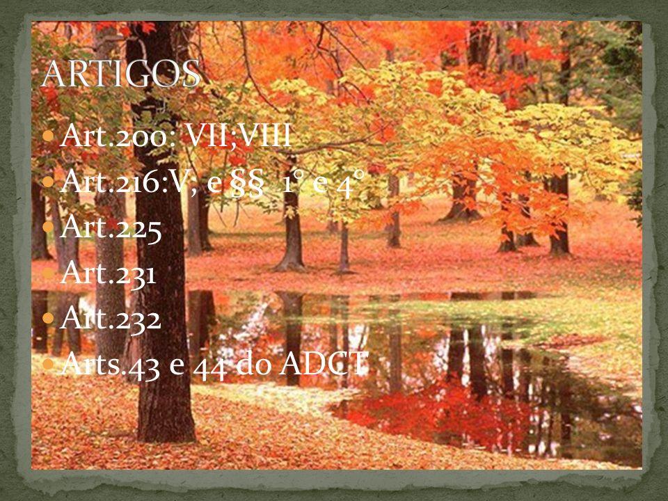 Art.200: VII;VIII Art.216:V; e §§ 1° e 4° Art.225 Art.231 Art.232 Arts.43 e 44 do ADCT
