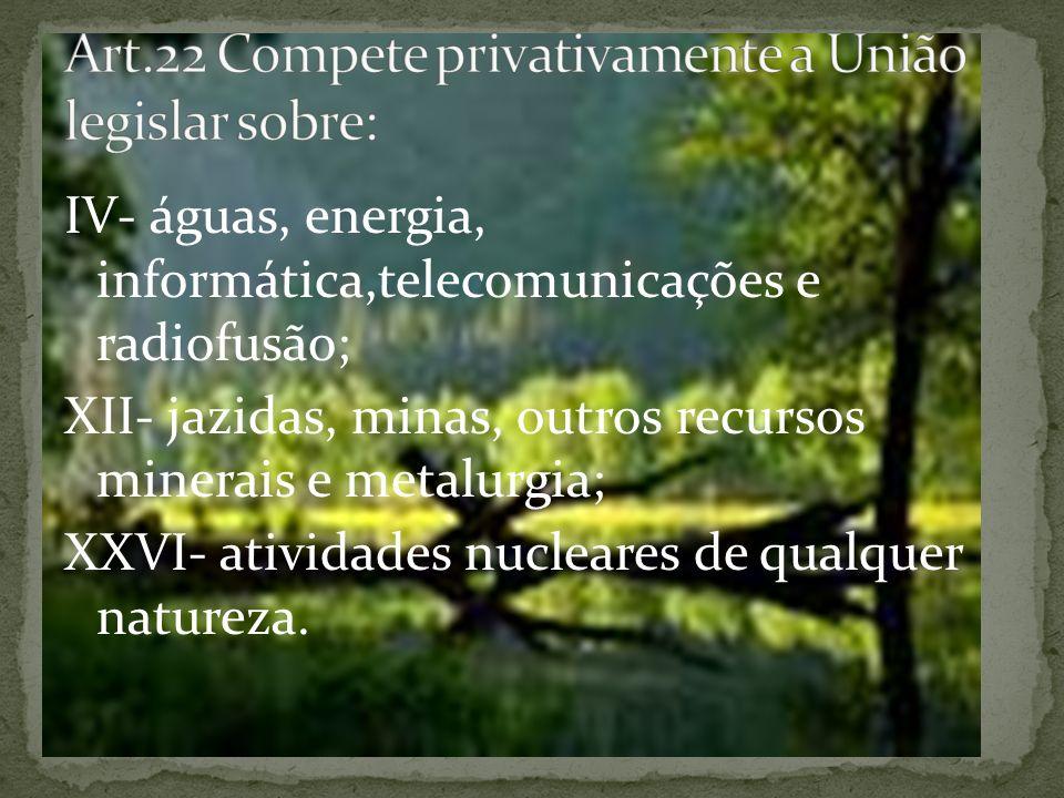 IV- águas, energia, informática,telecomunicações e radiofusão; XII- jazidas, minas, outros recursos minerais e metalurgia; XXVI- atividades nucleares de qualquer natureza.