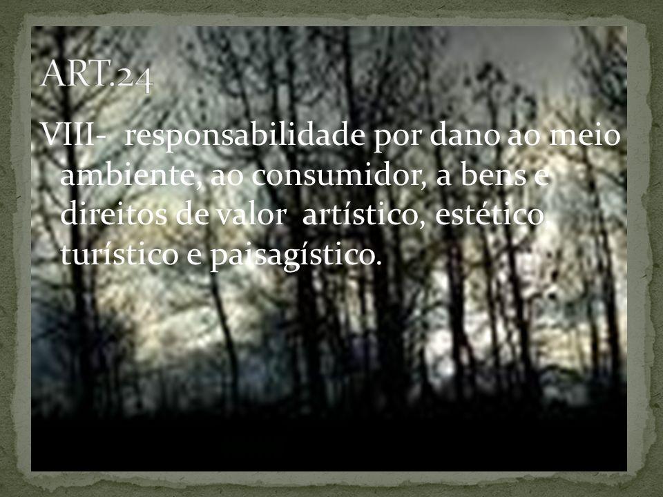 VIII- responsabilidade por dano ao meio ambiente, ao consumidor, a bens e direitos de valor artístico, estético, turístico e paisagístico.