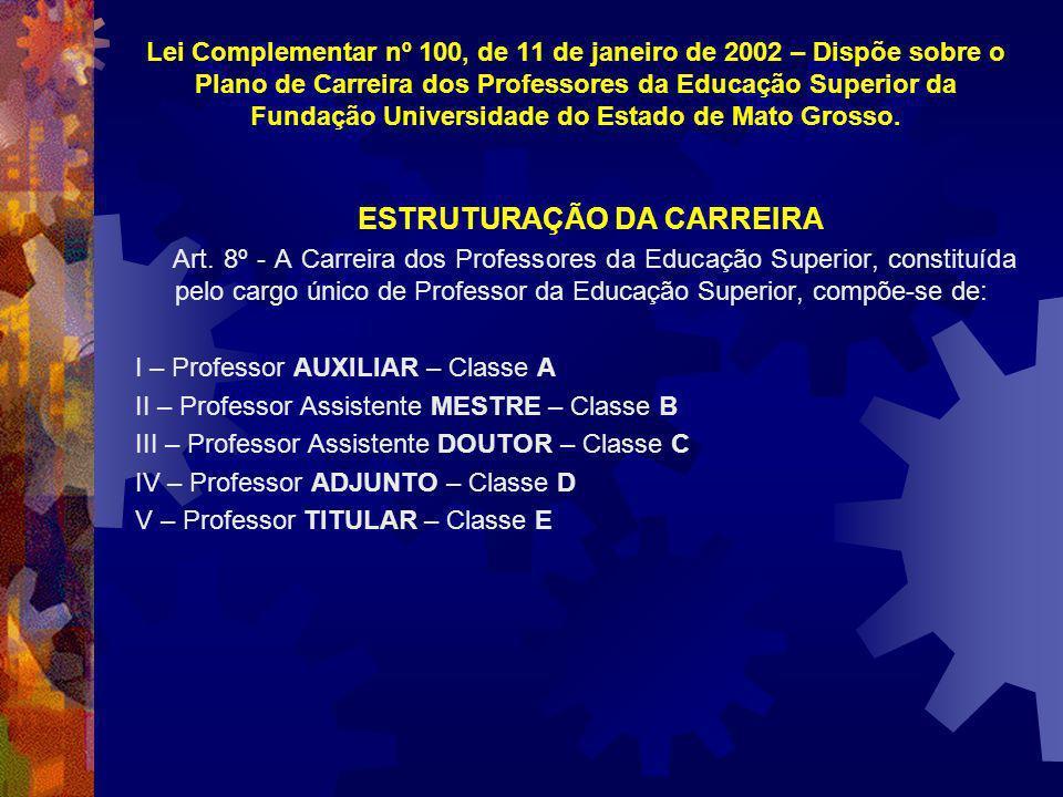 Lei Complementar nº 100, de 11 de janeiro de 2002 – Dispõe sobre o Plano de Carreira dos Professores da Educação Superior da Fundação Universidade do Estado de Mato Grosso.