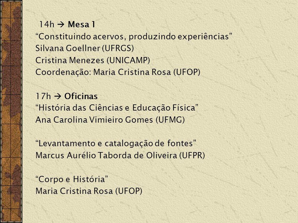 14h Mesa 1 Constituindo acervos, produzindo experiências Silvana Goellner (UFRGS) Cristina Menezes (UNICAMP) Coordenação: Maria Cristina Rosa (UFOP) 1