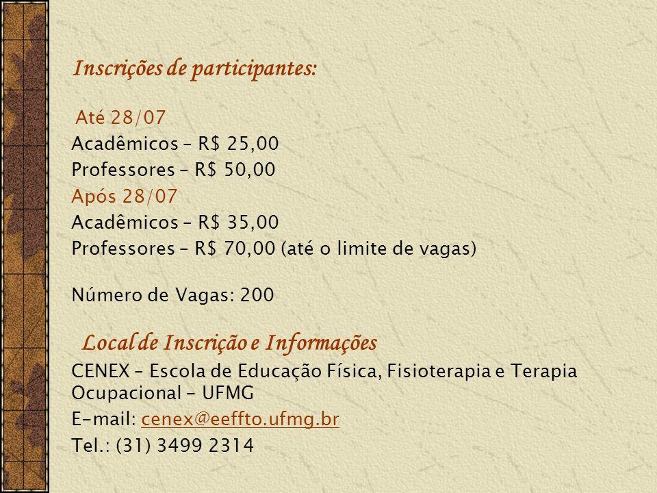 Inscrições de participantes: Até 28/07 Acadêmicos – R$ 25,00 Professores – R$ 50,00 Após 28/07 Acadêmicos – R$ 35,00 Professores – R$ 70,00 (até o limite de vagas) Número de Vagas: 200 Local de Inscrição e Informações CENEX – Escola de Educação Física, Fisioterapia e Terapia Ocupacional - UFMG E-mail: cenex@eeffto.ufmg.brcenex@eeffto.ufmg.br Tel.: (31) 3499 2314
