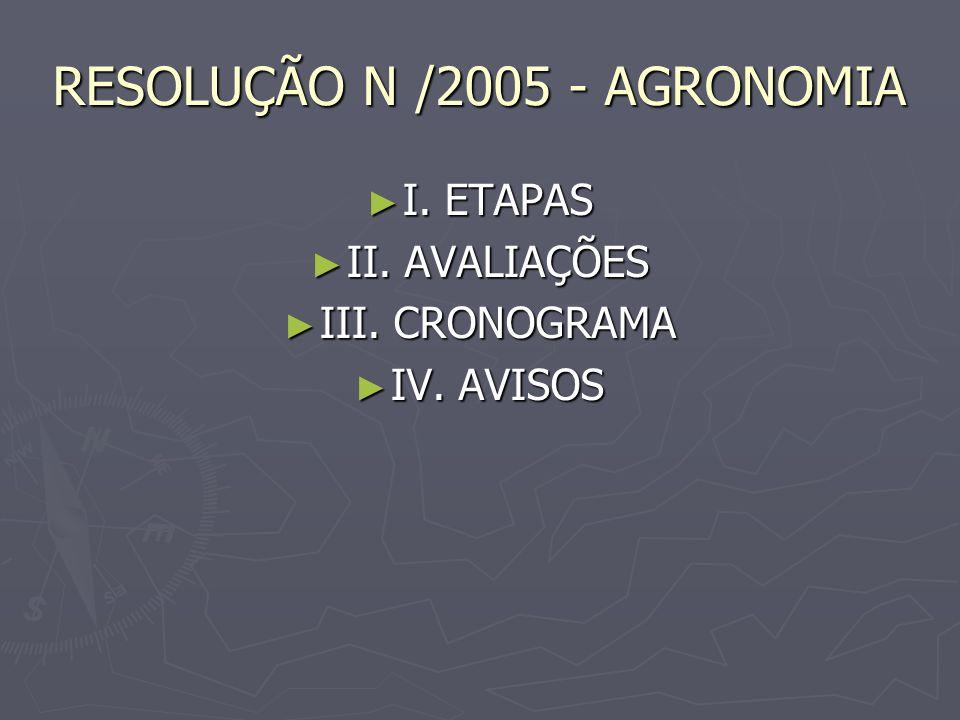 RESOLUÇÃO N /2005 - AGRONOMIA I. ETAPAS I. ETAPAS II. AVALIAÇÕES II. AVALIAÇÕES III. CRONOGRAMA III. CRONOGRAMA IV. AVISOS IV. AVISOS