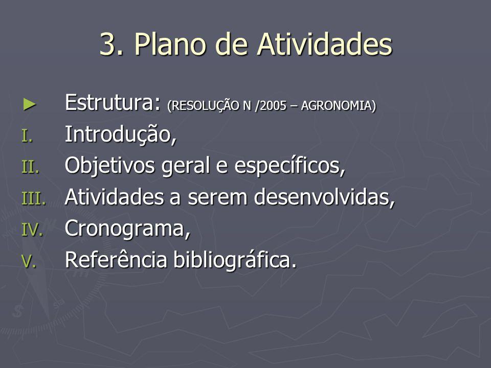 3. Plano de Atividades Estrutura: (RESOLUÇÃO N /2005 – AGRONOMIA) Estrutura: (RESOLUÇÃO N /2005 – AGRONOMIA) I. Introdução, II. Objetivos geral e espe