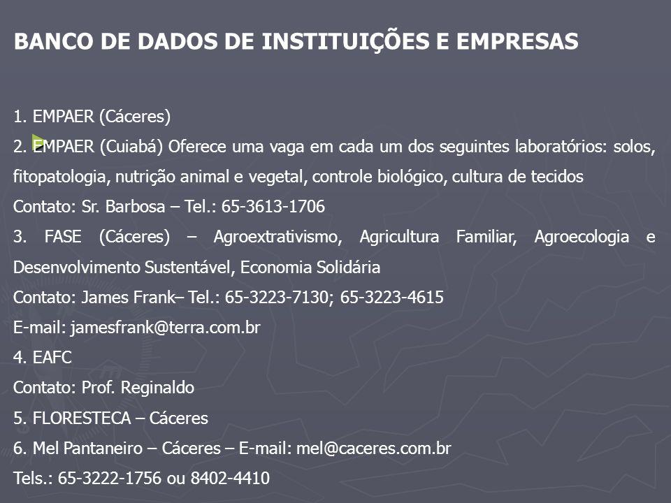 BANCO DE DADOS DE INSTITUIÇÕES E EMPRESAS 1. EMPAER (Cáceres) 2. EMPAER (Cuiabá) Oferece uma vaga em cada um dos seguintes laboratórios: solos, fitopa