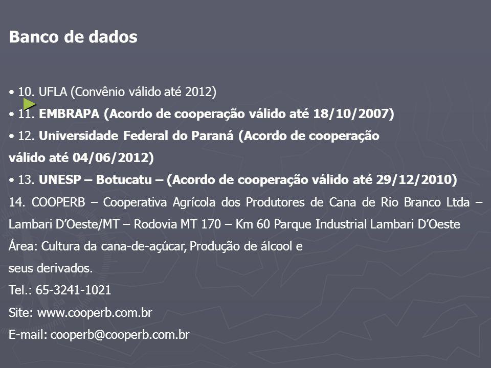 Banco de dados 10. UFLA (Convênio válido até 2012) 11. EMBRAPA (Acordo de cooperação válido até 18/10/2007) 12. Universidade Federal do Paraná (Acordo
