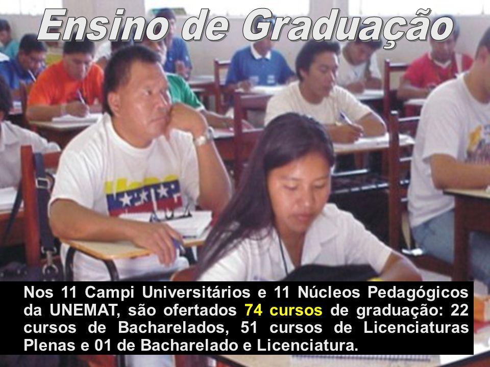 Nos 11 Campi Universitários e 11 Núcleos Pedagógicos da UNEMAT, são ofertados 74 cursos de graduação: 22 cursos de Bacharelados, 51 cursos de Licencia