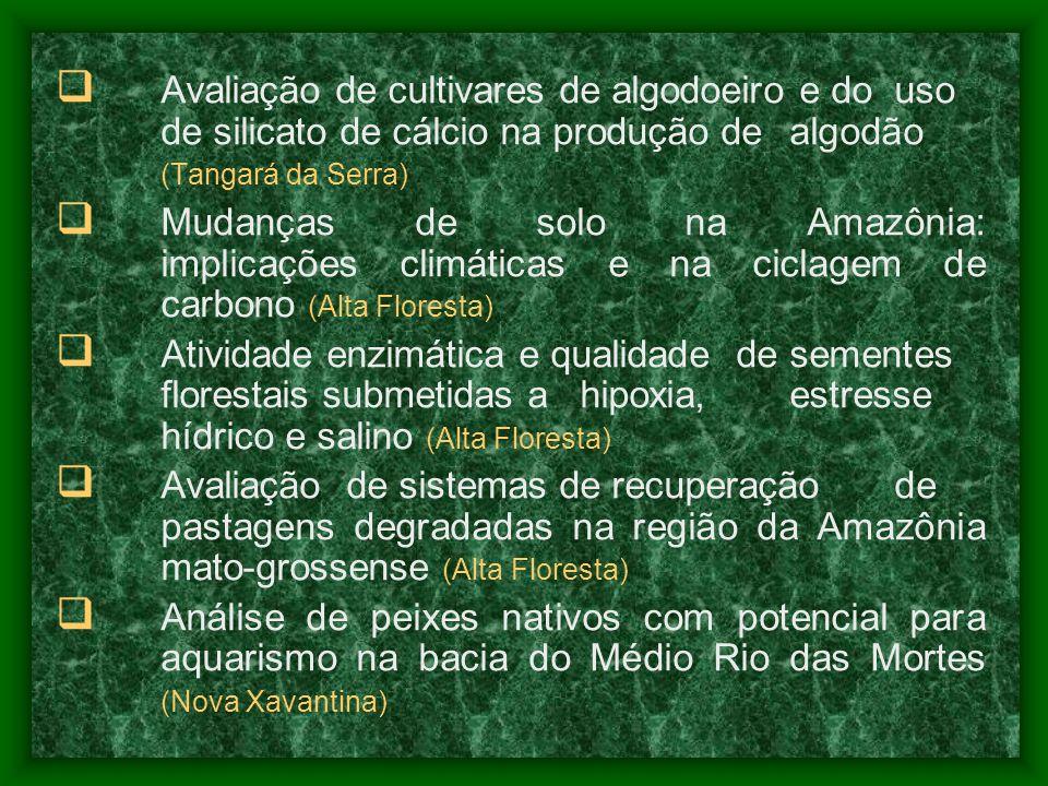 Avaliação de cultivares de algodoeiro e do uso de silicato de cálcio na produção de algodão (Tangará da Serra) Mudanças de solo na Amazônia: implicaçõ
